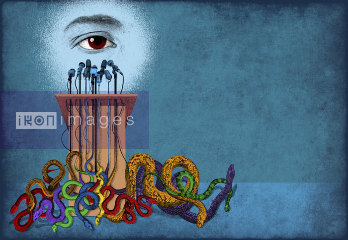 Eye at podium with lots of microphones turning into snakes - Boris Séméniako