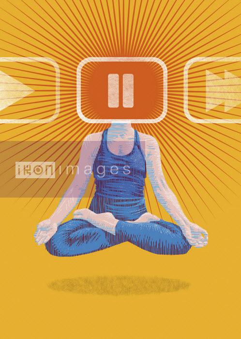 Woman meditating with head on pause - Boris Séméniako