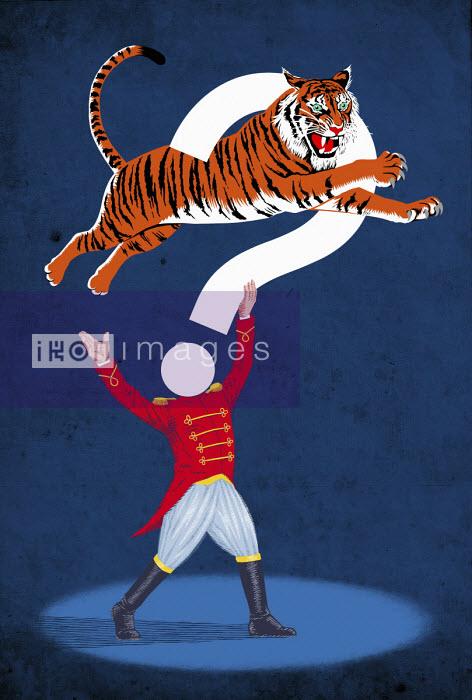 Circus performer with tiger jumping through question mark - Boris Séméniako