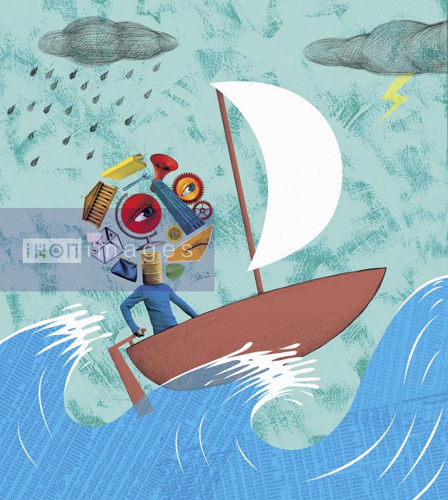 Man thinking about the economy in boat on stormy stock market sea - Boris Séméniako
