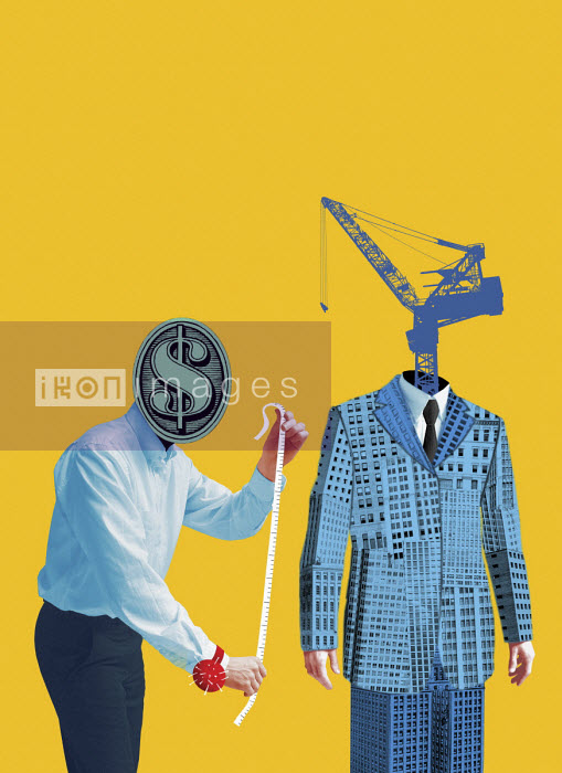 Tailor with dollar sign head measuring urban development suit - Boris Séméniako
