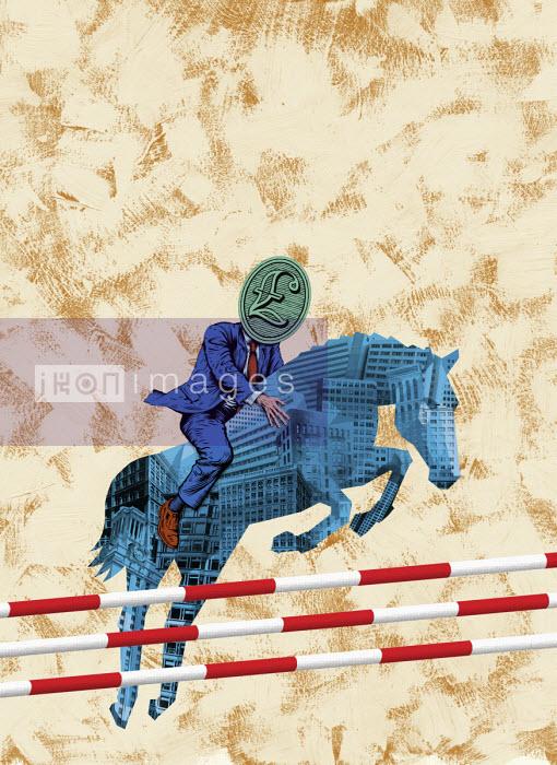 Businessman with pound sign head riding office block horse over jumps - Boris Séméniako