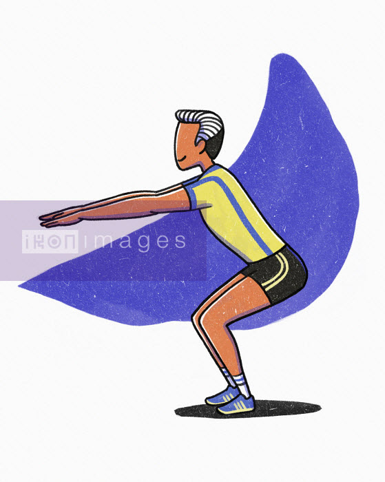 Man bending knees and stretching - Danae Diaz