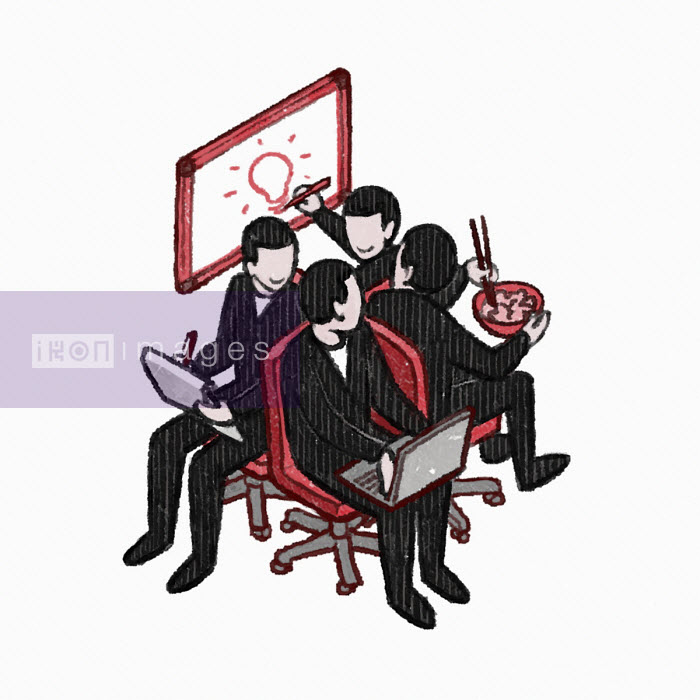 Businessmen working together in connected chairs - Danae Diaz