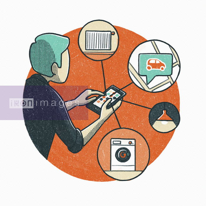 Man using smart phone to control household appliances - Danae Diaz