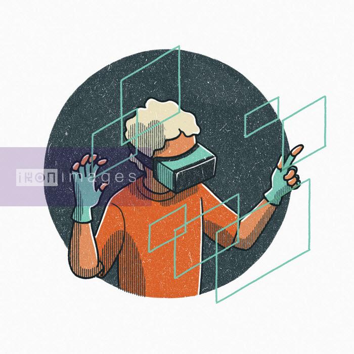 Man using virtual reality headset - Danae Diaz
