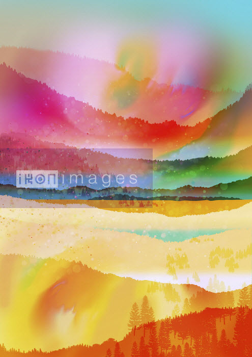 Multi coloured abstract landscape - Chris Keegan
