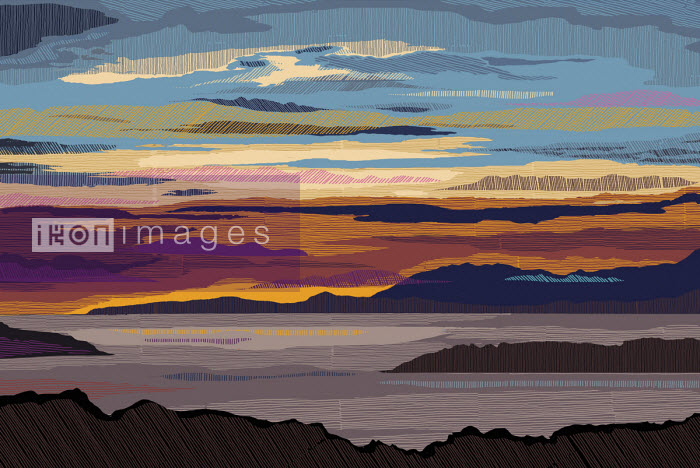 Abstract multi coloured sunset over seascape - Chris Keegan