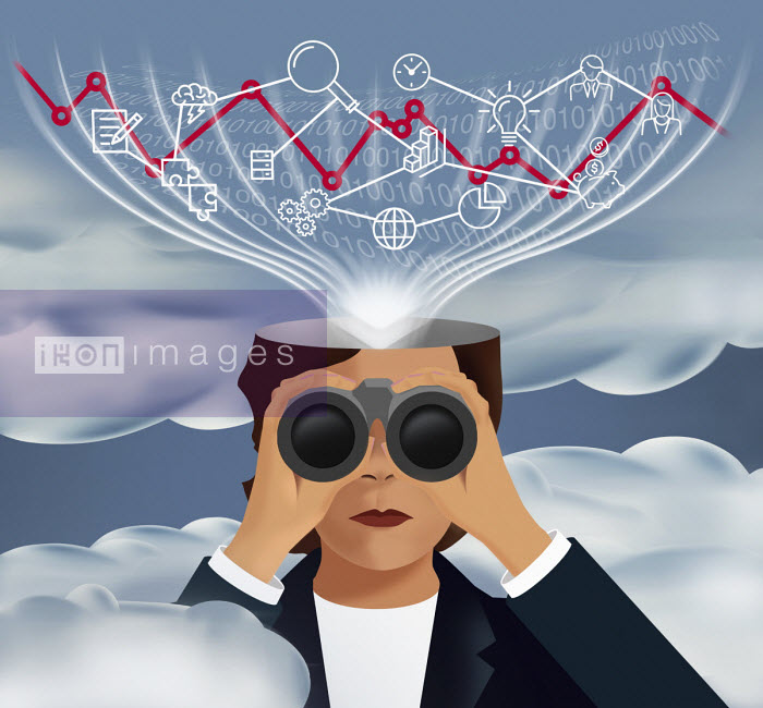 Businesswoman looking through binoculars with head analysing business data - Mary Anne Smith