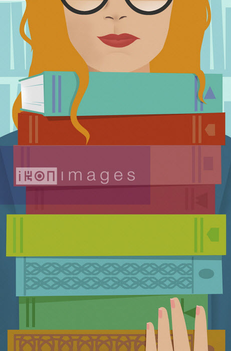 Young woman carrying large pile of books - Mary Anne Smith