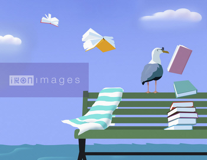 Seagull wearing glasses as books fly into sky - Mary Anne Smith