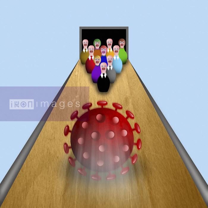 Coronavirus bowling ball approaching terrified tenpin businesspeople - Liam Bardsley