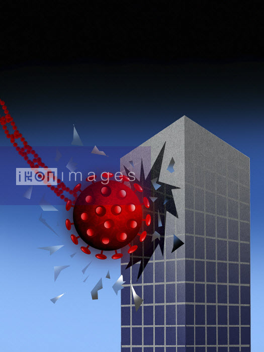 Coronavirus wrecking ball hitting office building - Liam Bardsley