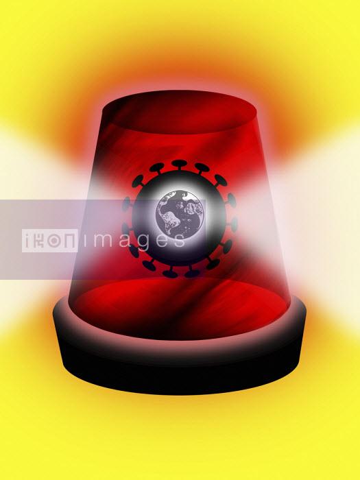 Coronavirus globe inside red flashing warning light - Liam Bardsley