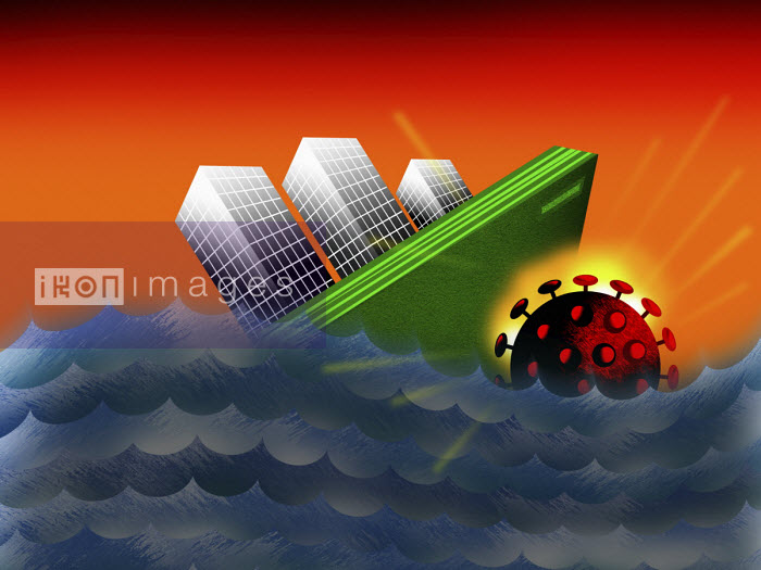 Coronavirus mine sinking city skyscrapers - Liam Bardsley