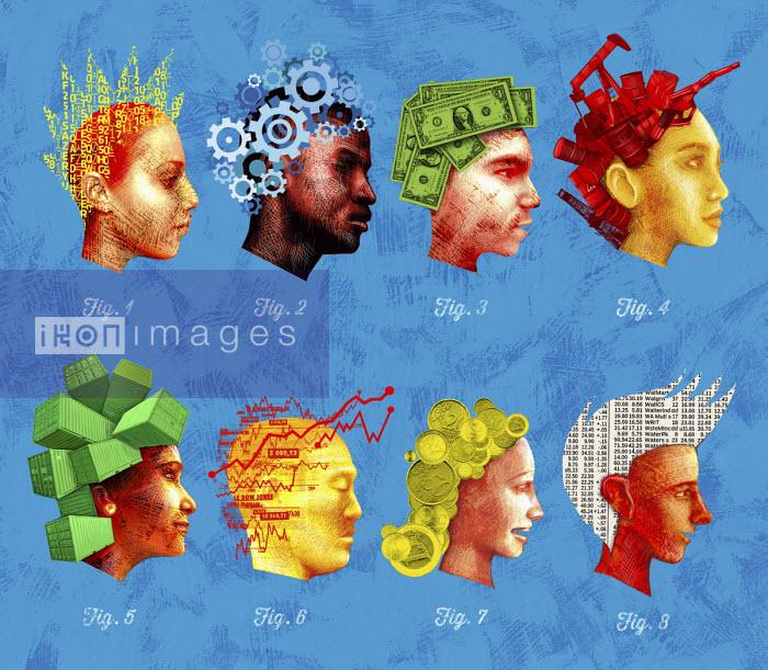 Rows of heads thinking about stock market and trade - Boris Séméniako