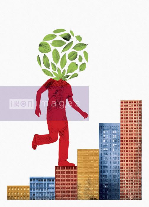 Man with leaves for head climbing office block staircase - Boris Séméniako