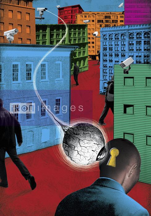 CCTV cameras looking into keyhole in man's head - Boris Séméniako