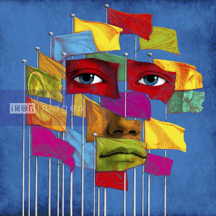 Features of sad face on group of flags - Boris Séméniako