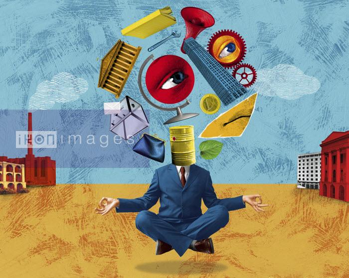 Businessman meditating about business, industry and politics - Boris Séméniako