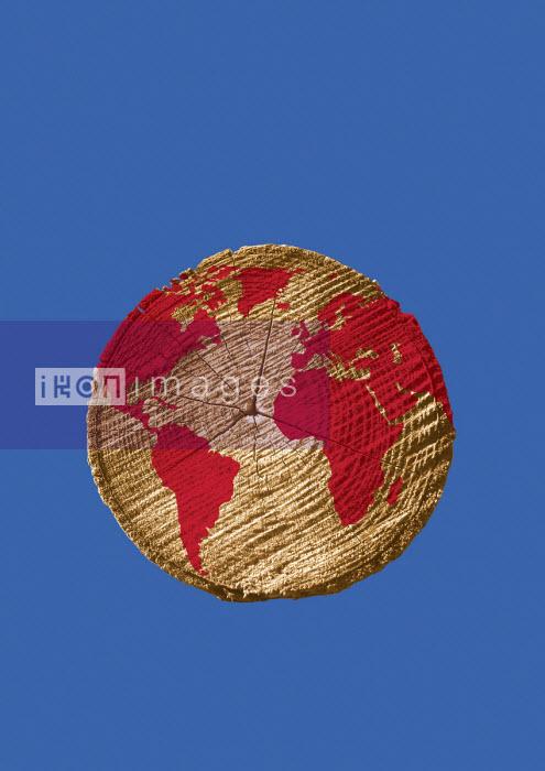 World map on cross section of tree trunk - Boris Séméniako
