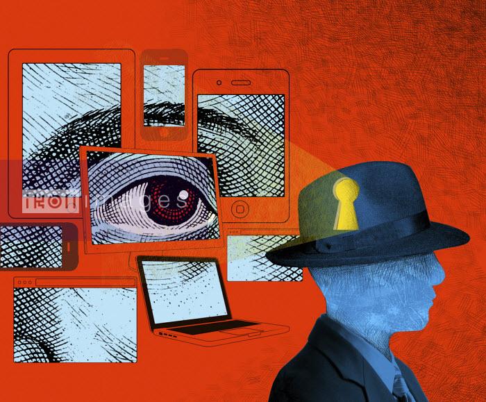 Digital devices looking through keyhole into man's head - Boris Séméniako