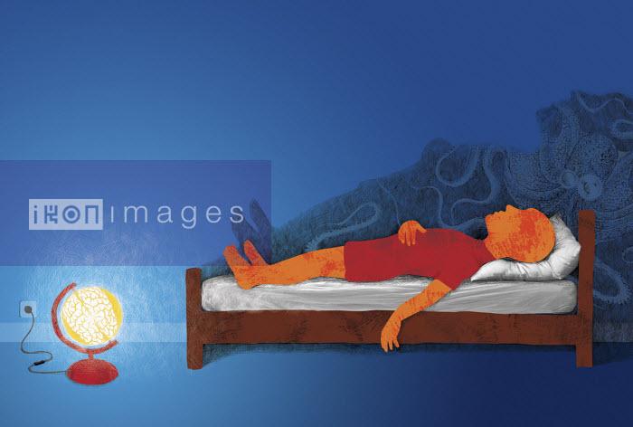 Man sleeping dreaming of octopus - Boris Séméniako