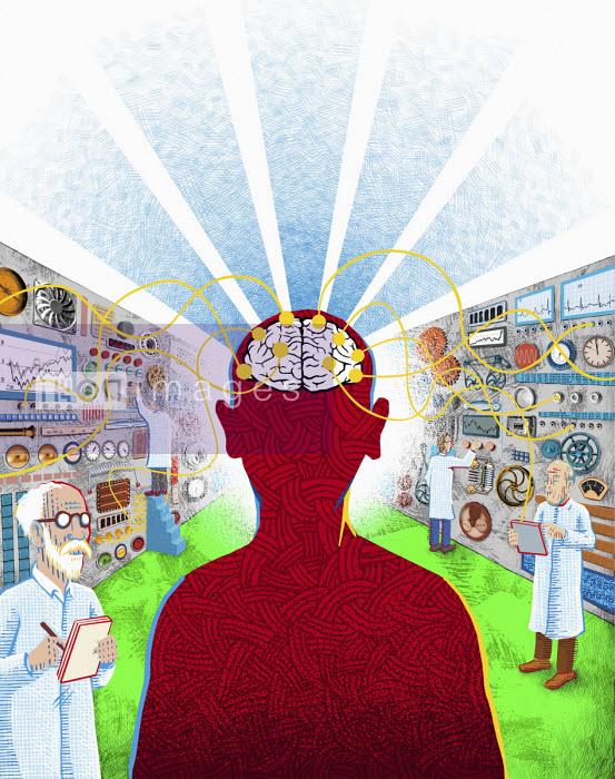 Scientists analysing man's brain activity - Boris Séméniako