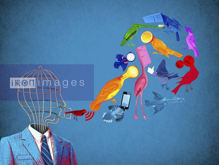 Man with birdcage head communicating ideas as birds - Boris Séméniako