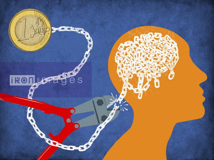 Cutting chain connecting euro coin to man's brain - Boris Séméniako