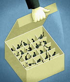 Businessman opening box packed with co-workers