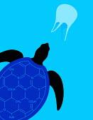 Turtle swimming in plastic pollution
