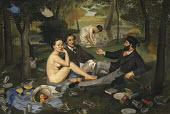 Parody of 'Le Dejeuner sur l'herbe' by Edouard Manet with lots of added rubbish
