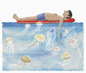Man relaxing on air bed unaware of jellyfish danger