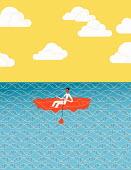 Man rowing through sea of DNA