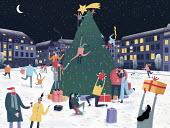 People having fun around Christmas tree in town square