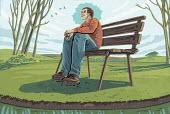 Man sitting on bench enjoying tranquility