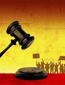 Judge's gavel and protestors