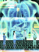 Futuristic doctors using digital technology for diagnosis