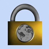 Globe on locked padlock